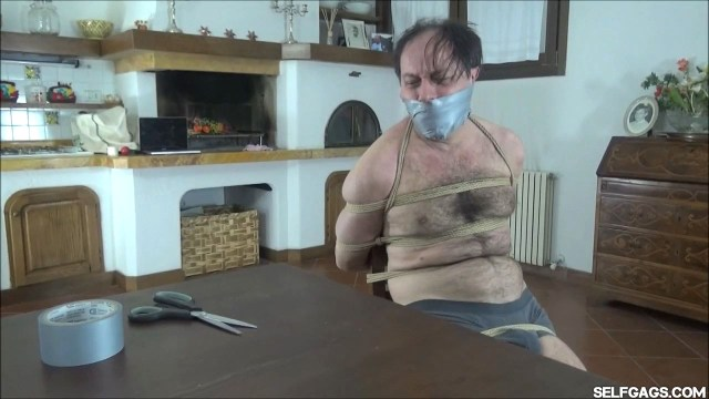Man chairtied and gagged tight