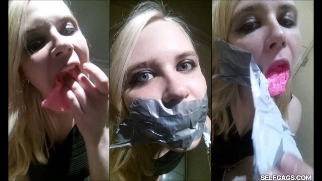 Anne Dville gagging herself in public club toilet for selfgags.com