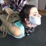 Tape gagged girl hogtied extremely tight