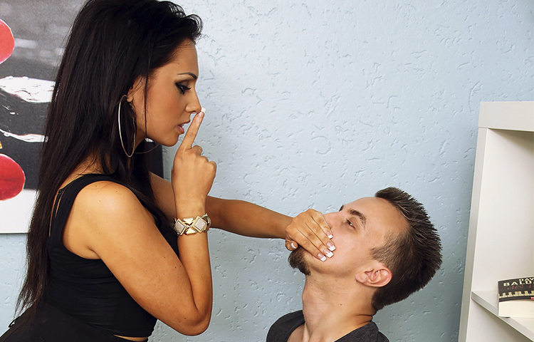 Silencing Her Office Slave With Hand Over Mouth