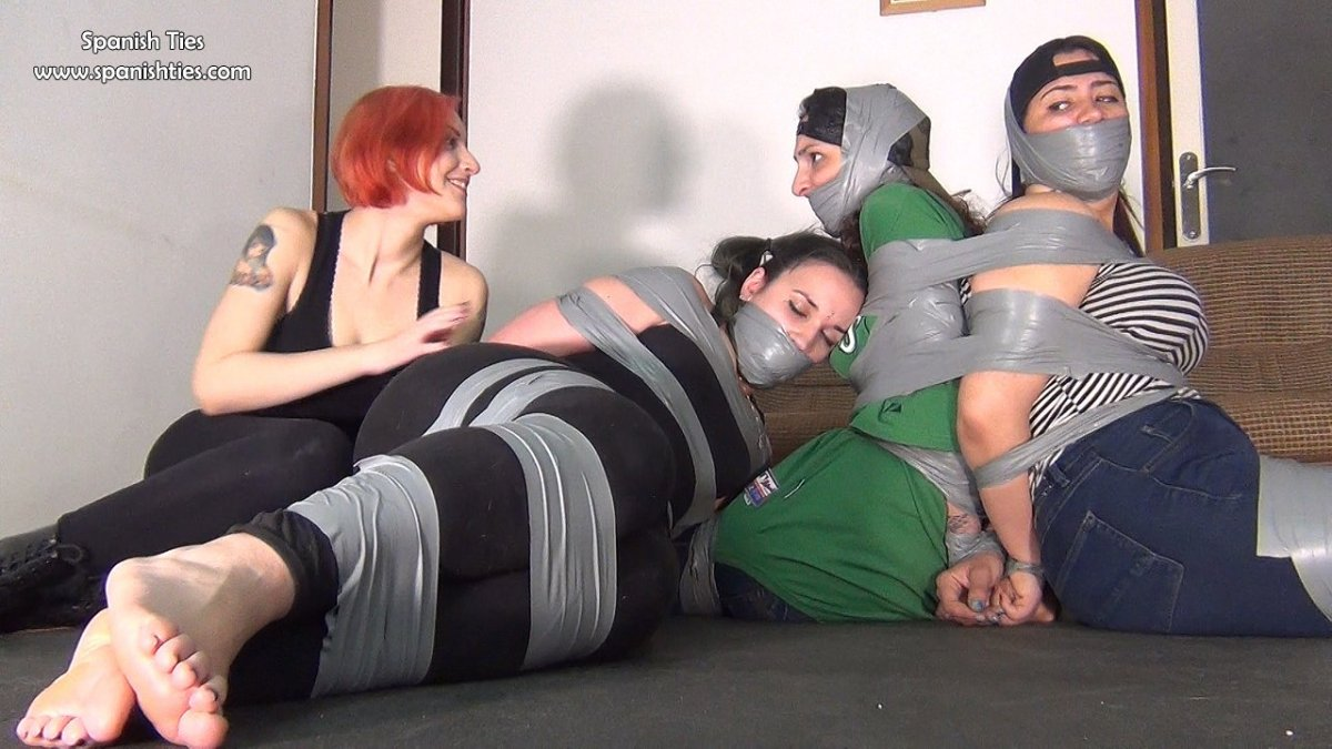 Three Sexy Girls In Super Tight Tape Bondage!