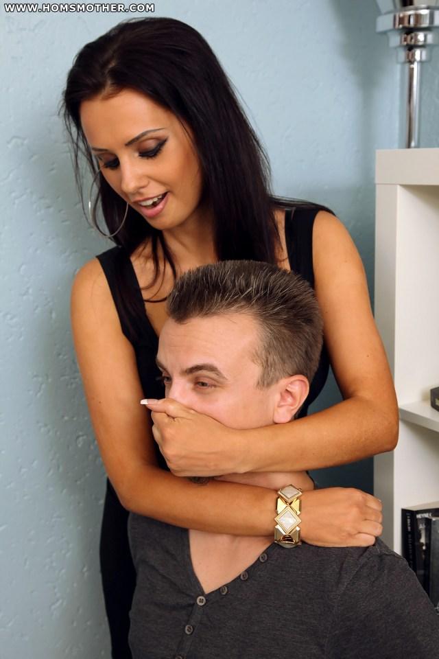 Man handgagged tight by strong woman