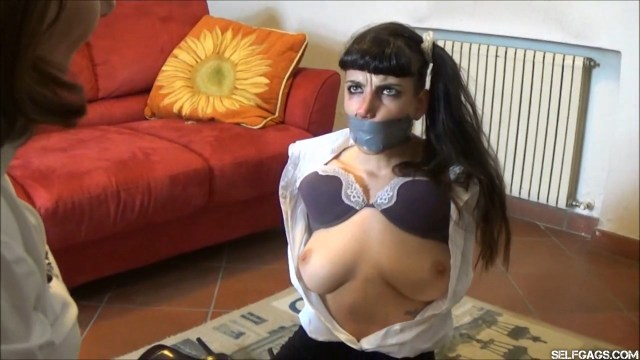 Upset woman bound and gagged