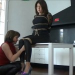 Diana bound and gagged by MILF Layla Bond in her first bondage video