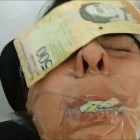 Sexy Instagram Model Gagged With Money And Tape By Jealous Little Sister!