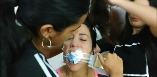 Sexy latina milf gagged with socks and tape