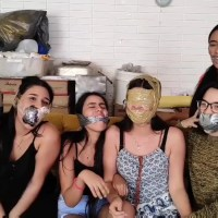 Five Silly Latina Girls Having Fun Gagging Each Other