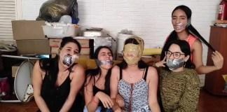 Multiple girls gagged