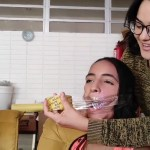 Cute latina girl has mouth taped shut with clear tape wrapgag