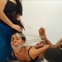 Crying Latina Hogtaped And Cleave Gagged On The Floor