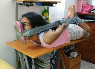 Sexy latina babysitter in duct tape hogtie bondage with smelly shoe tied to face
