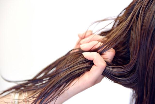 フリー写真 お客様の髪に触る美容師の手