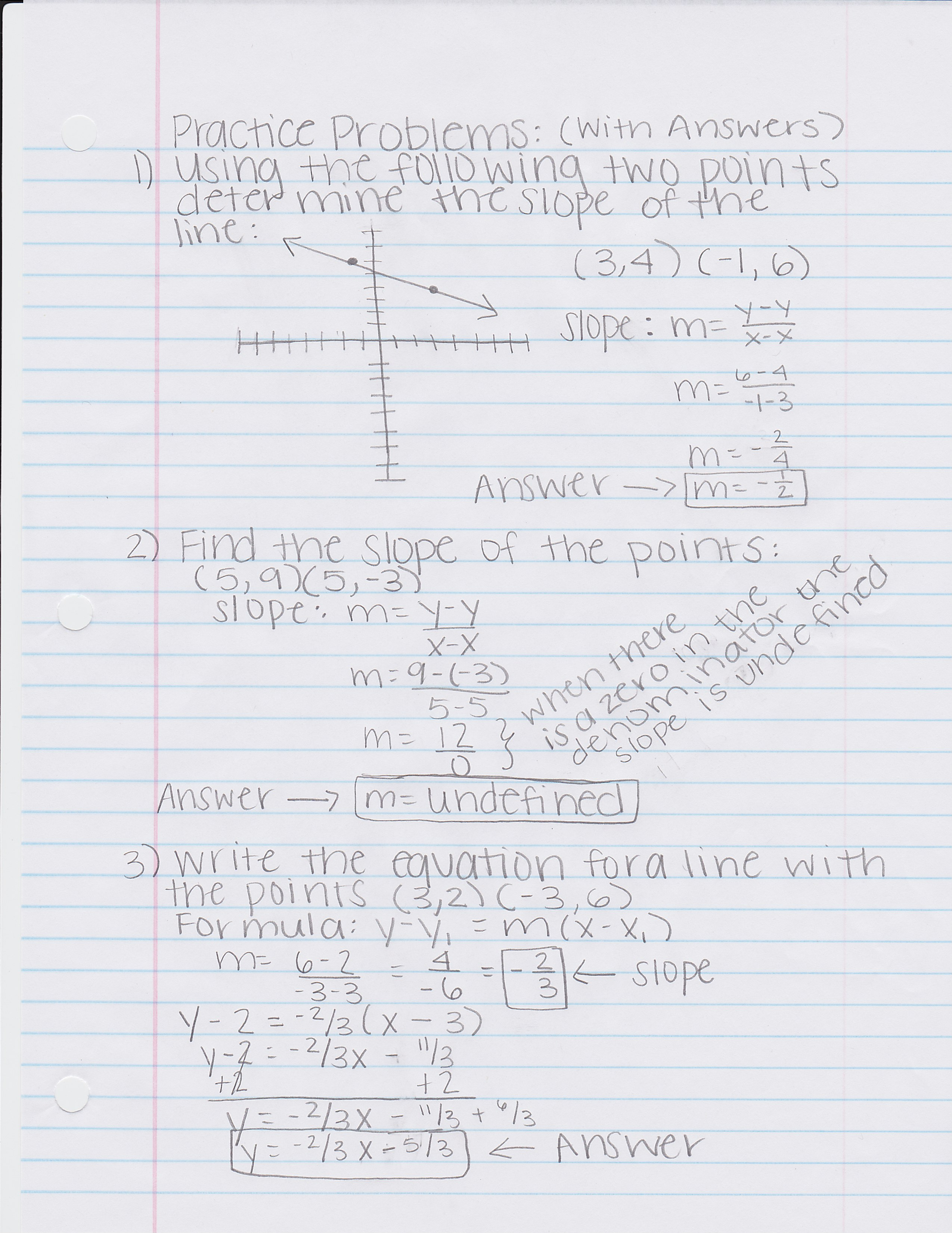 Graphing Linear Equations Problems With Answers