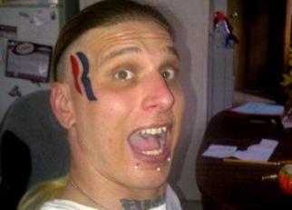 Eric Hartsburg and his Romney-Ryan tattoo.
