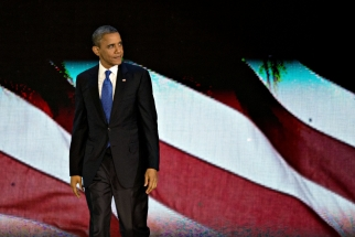 Barack Obama after his acceptance speech in Chicago