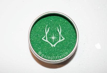 green powder biodegradable glitter in aluminium tin