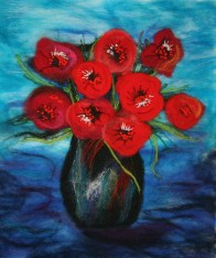© Alba Romero All about Red - applique and felted hanging