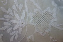 flowers on cloth detail of openwork