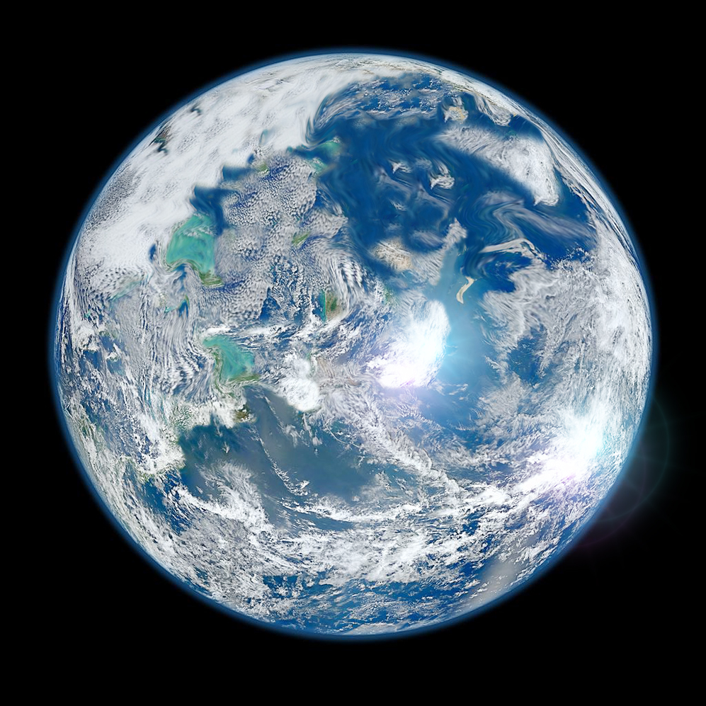 Poseidous-View-from-Space-v3-city-lights-w-sun-flare