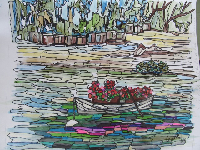Boat with geraniums on Priest  Lake