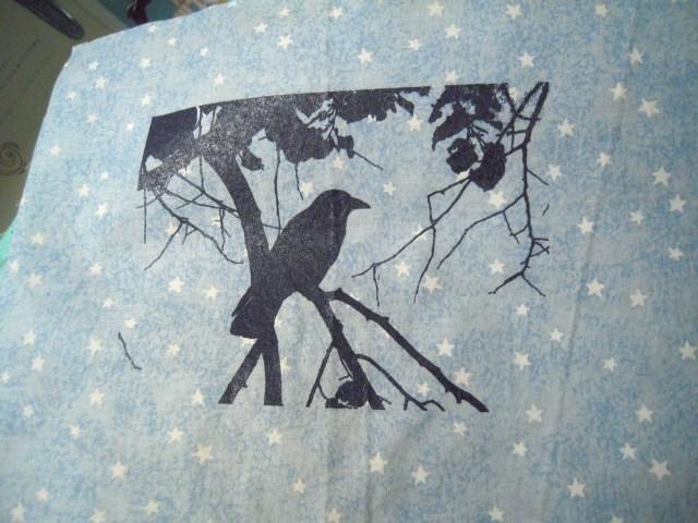 screen printed crow