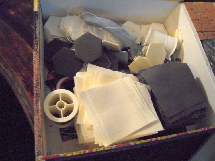 fabric squares in a box