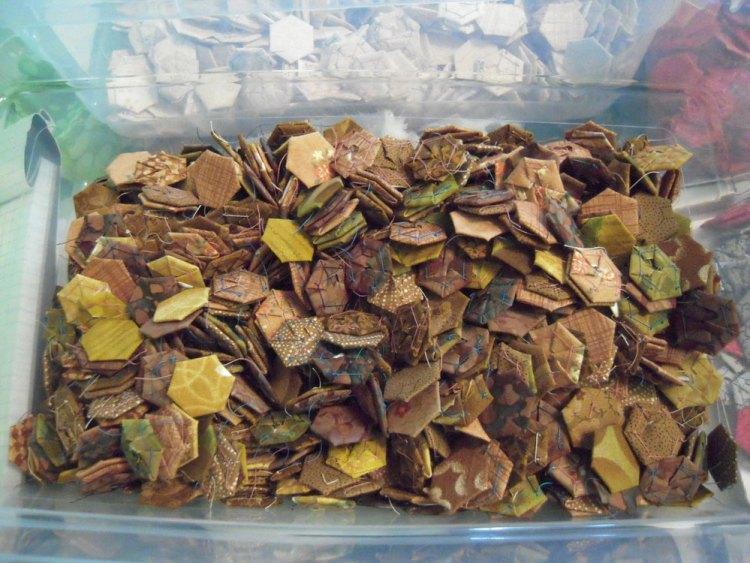bin of brown hexies