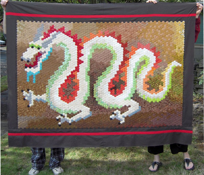 Dragon quilt top finished