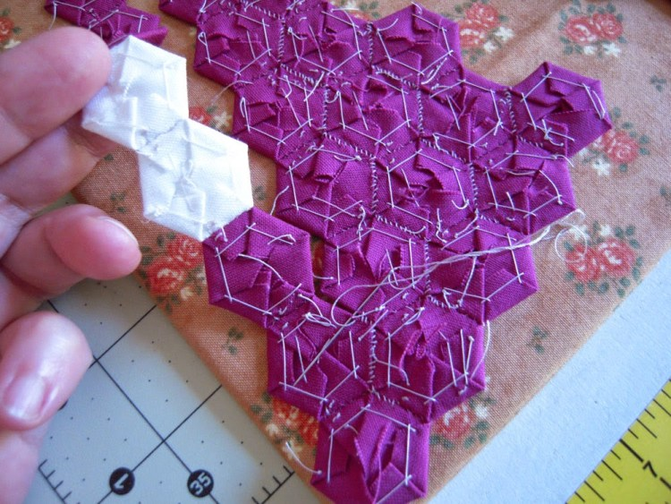 backside stitching of hexies
