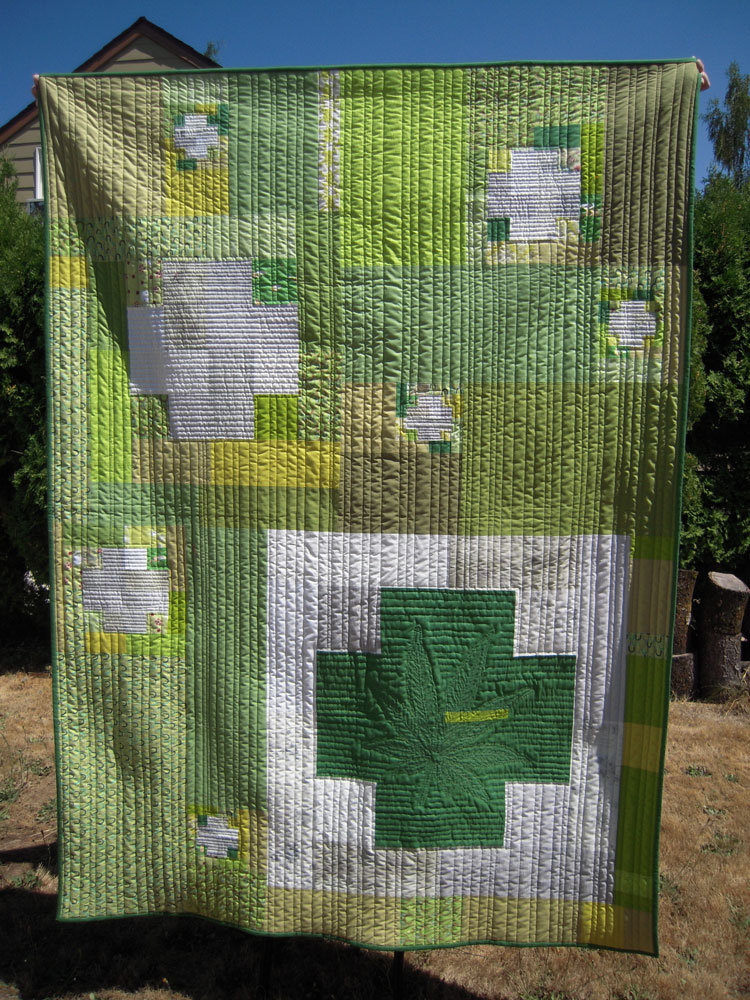 green cross cannabis quilt