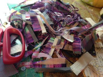 purple fabric scraps