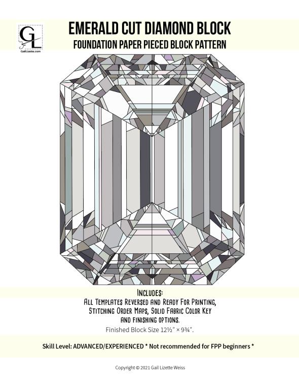 "Emerald Cut Diamond - FPP Pattern for 12"" x 9"" quilt block."