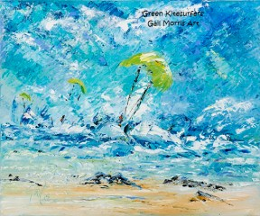 Green Kitesurfers - Mounted Prints £30 P&P inc, Larger Framed Prints available on collection from £65 - £75 - Please ask for sizes
