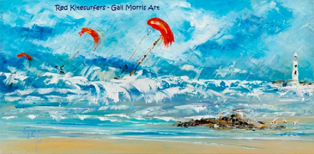 'Red Kitesurfers' - Framed Prints from £95 Collection Only Greeting Cards £2