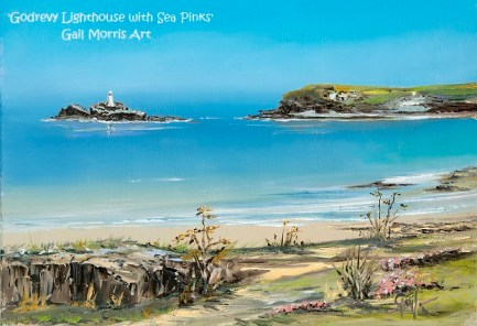 'Godrevy lighthouse with Sea Pinks' Cornwall Greeting Card A5 size