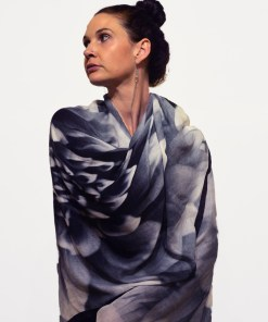 Gazelle Shawl in Modal in Black Dahlia Design, a photograph by Gail Russell Photographer, Taos, New Mexico