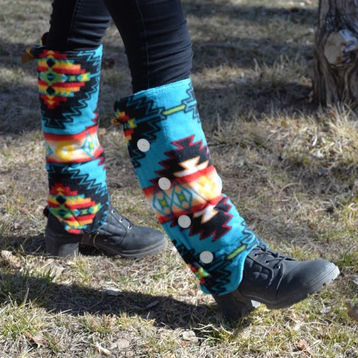 SallyGators® Leg Warmers in Turquoise Blanket Southwestern Fleece by Gail Russell Art & Apparel, Taos, New Mexico
