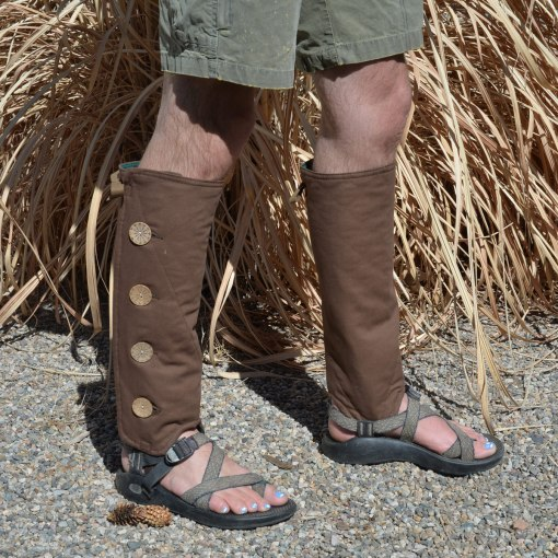 SallyGators® Leg Warmers in Brown Canvas by Gail Russell Art & Apparel, Taos, New Mexico