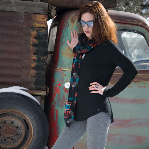 Southwest Fleece Pocet Scarf - Black Canyon by Gail Russell and Kangaroo Girls®