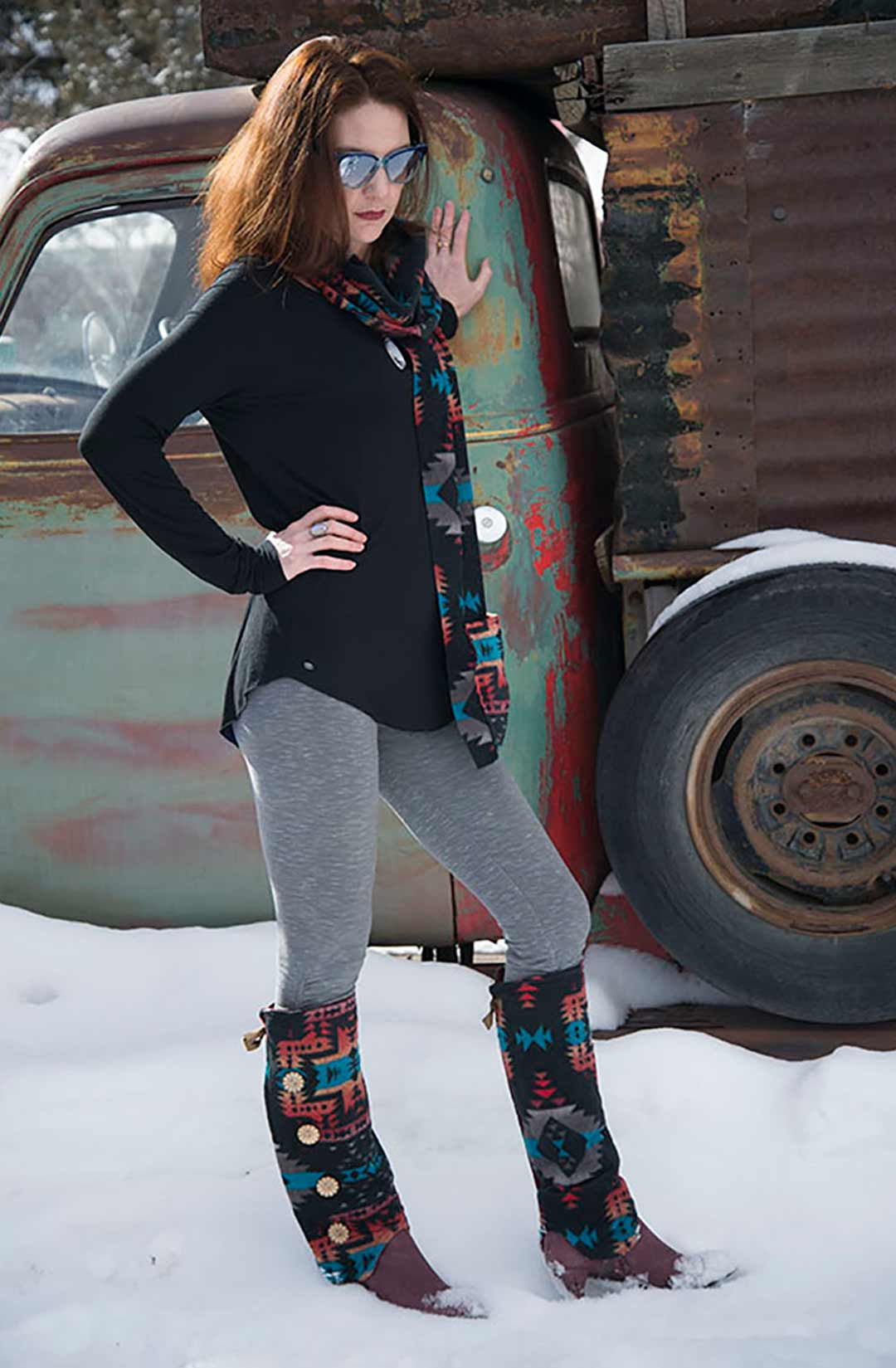 KangarooGirls™ Southwestern Style Scarf in Fleece by Gail Russell Art & Apparell, Taos, New Mexico