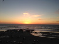 The sunset on the ocean to indicate feeling gratitude.