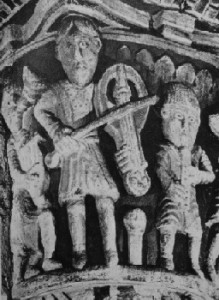 11th century stone pillar in the church at Boubon-l'Achambault, St George, France