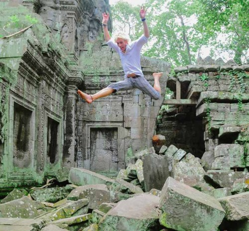 Man-Jumping-In-Old-Temple-Ruins_