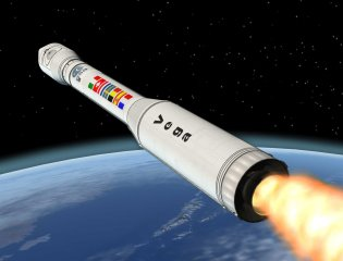 Immagine artistica del lanciatore Vega nello spazio