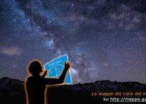 Ecco come si utilizza una mappa del cielo: la si posiziona davanti a se, a circa 45 gradi di altezza nella direzione indicata.