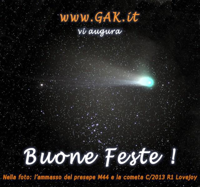 La cometa C/2013 R1 Lovejoy e l'ammasso del Presepe M44, nella costelazione del cancro