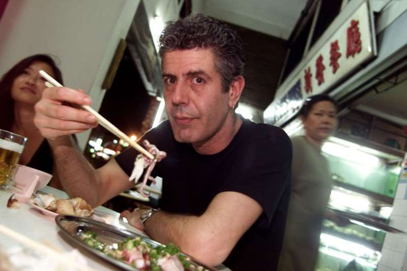 Anthony Bourdain's first television series, A Cook's Tour, began in 2002. He is seen here in Singapore during the tour.jpg