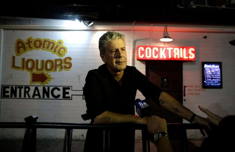 Anthony Bourdain attends the Parts Unknown Last Bite live CNN talkshow at Atomic Liquors in Las Vegas in 2013.jpg