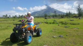 ATV ride behind is the picturesque Mayon volcano
