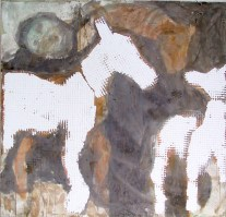 """"""" discorso folle """" -2006, cm 125x125, mixed media on wood, private collection"""